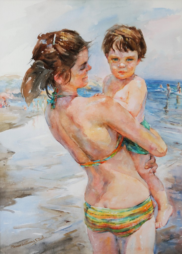"Subject: Watercolor painting entitled ""Last Summer"" ©1978 featuring Pam White & Banker White by the beach in Gloucester, MA. Artist: Marian Williams Steele Photographer: Banker White"