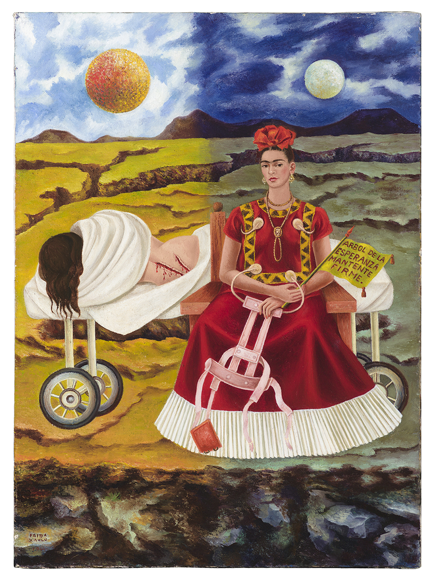 Frida Kahlo, Tree of Hope, Remain Strong, 1946, oil on masonite. Collection of Daniel Filipacchi Paris, France. Credit: © 2015 Banco de México Diego Rivera Frida Kahlo Museums Trust, Mexico, D.F. / Artists Rights Society (ARS), New York. Reproduction, including downloading of Frida Kahlo works is prohibited by copyright laws and international conventions without the express written permission of Artists Rights Society (ARS), New York.