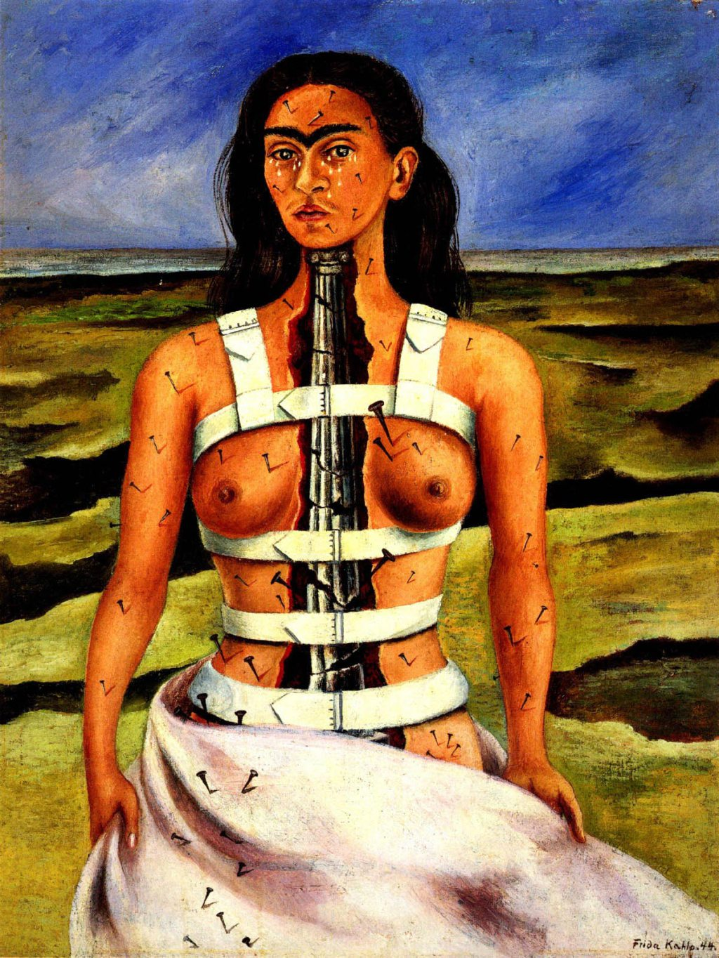 Frida Kahlo, Broken Column (La Columna Rota), 1944, oil on masonite. Collection of Dolores Olmedo Mexico City, Mexico. Credit: © 2015 Banco de México Diego Rivera Frida Kahlo Museums Trust, Mexico, D.F. / Artists Rights Society (ARS), New York. Reproduction, including downloading of Frida Kahlo works is prohibited by copyright laws and international conventions without the express written permission of Artists Rights Society (ARS), New York.